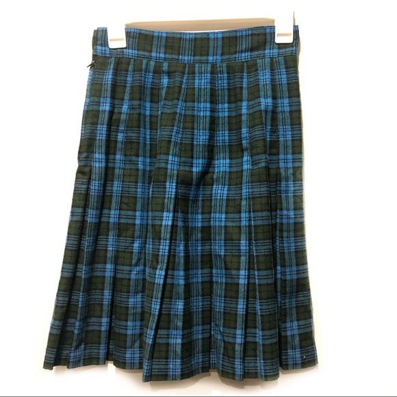 Vintage Plaid Pleated Skirt Preppy School Girl